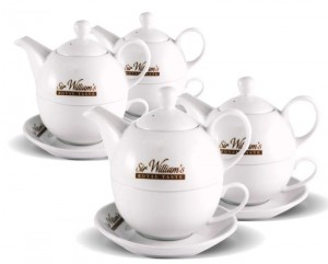 Sir William's Royal Taste zestaw porcelanowy - dzbanek 350 ml, filiżanka i spodek x4