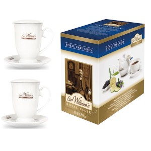 Sir William's Royal Taste Earl Grey 50x2,5g i dwa kubki do parzenia herbaty