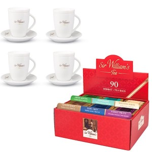 Sir William's Tea 90 czerwony prezenter i 4 kubki