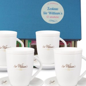 Sir William's Tea Mix 72 herbat  i 4 kubki - zestaw dla konesera